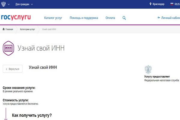 Как узнать ИНН физическому лицу через интернет по паспорту